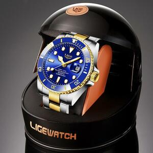 Ligeトップブランドの高級ファッションダイバー腕時計メンズ防水日付時計ゴールドブルー腕時計メンズクォーツ腕時計レロジオmasculino