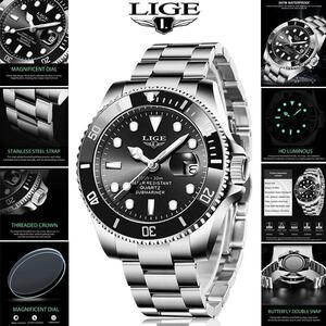 Ligeトップブランドの高級ファッション新メンズ腕時計30ATM防水日付時計男性スポーツ腕時計メンズクォーツ腕時計レロジオmasculino