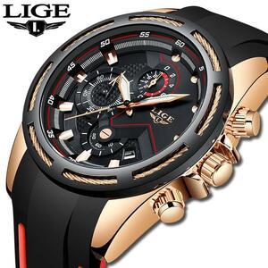 Ligeファッションメンズ腕時計トップブランドの高級シリコンスポーツ腕時計メンズクォーツ日付時計防水腕時計レロジオmasculino