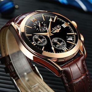 Ligeファッションメンズ腕時計トップブランドの高級軍クォーツ時計革防水スポーツクロノグラフ腕時計レロジオmasculino