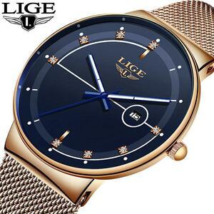 Ligeファッションメンズ腕時計トップブランドの高級超薄型クォーツ時計男性のためのストラップ防水金時計レロジオmasculino