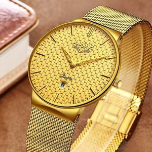 Ligeファッションメンズ腕時計トップブランドの高級超薄型クォーツ時計男性鋼メッシュストラップ防水金時計レロジオmasculino