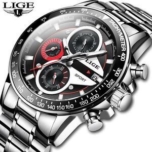 Ligeメンズウォッチトップブランドの高級ファッションビジネスクォーツ時計男性スポーツフルスチール防水黒時計レロジオmasculino