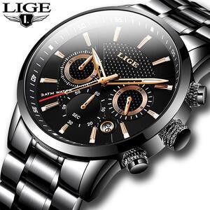 Ligeメンズラグジュアリーブランドビジネスクォーツ腕時計メンズミリタリースポーツ防水ドレス腕時計黒レロジオmasculino