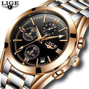 Ligeメンズ腕時計トップの高級ブランドの軍事スポーツ腕時計メンズクォーツ時計フルスチールカジュアルビジネス金時計レロジオmasculino