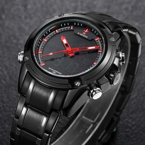 NAVIFORCE トップ高級ブランド男性 3Bar 防水 LED スポーツ軍事腕時計男性クォーツアナログデジタル腕時計レロジオ Masculino