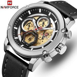 NAVIFORCE メンズ腕時計トップブランドの高級クォーツ時計メンズレザー防水腕時計カレンダー男性時計レロジオ Masculino
