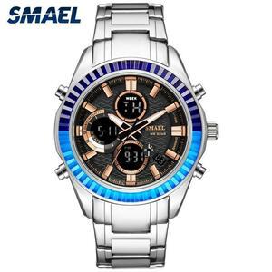 Smaelファッションスポーツメンズ腕時計topbrand高級クォーツ時計男性SL-1430鋼防水ビジネス腕時計ledレロジオmasculino
