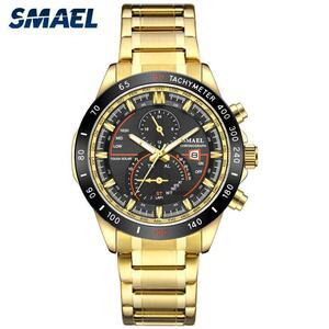 Smaelメンズ腕時計高級ビジネスマンスポーツ腕時計メンズトップブランド防水ゴールド鋼SL-9062クォーツ時計男性レロジオmasculino