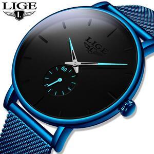 レロジオmasculino lige 2020新ファッションブルーメンズ腕時計トップブランドの高級防水シンプルな超薄型腕時計メンズクォーツ時計
