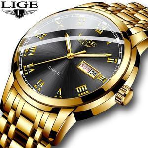 レロジオmasculino ligeゴールドメンズ腕時計防水ステンレス鋼日付週クォーツ時計男性の高級ビジネスドレス時計