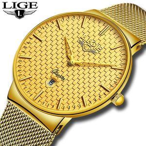 レロジオmasculino ligeファッションメンズ腕時計トップブランドの高級超薄型クォーツ時計男性鋼メッシュストラップ防水金時計