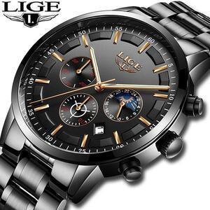 レロジオmasculino ligeメンズ腕時計トップブランドの高級時計男性すべてスチールクオーツ腕時計男性防水グジュアリースポーツクロノグラ