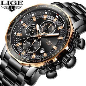 レロジオmasculino lige新スポーツクロノグラフメンズ腕時計トップブランドの高級フル鋼クォーツ時計防水ビッグダイヤル腕時計男性