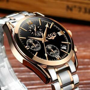 レロジオmasculino lige男性トップの高級ブランドの軍事スポーツ腕時計メンズクォーツ時計男性フル鋼カジュアルビジネスゴールド時計