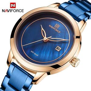 高級女性の腕時計 NAVIFORCE ブランド時計鋼クォーツ腕時計ファッションレディース腕時計リロイ mujer レロジオ feminino