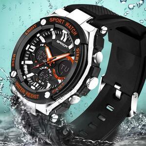 三田スポーツ腕時計メンズミリタリー腕時計防水最高ブランドの高級日付カレンダーデジタルクォーツ腕時計レロジオmasculino 733