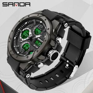 Sanadトップブランドの高級男性の軍事スポーツ腕時計5ATM防水クォーツ時計男性のショック男性時計レロジオmasculino 6008