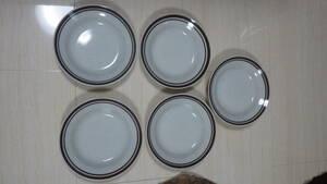 ソーサー5点セット 80s tono china 平皿 昭和レトロ vintage ビンテージ ストーンウェア? 日本製 japan 北欧 old オールド 中皿 プレート