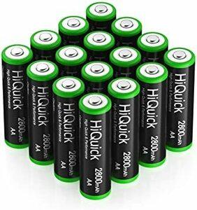 単3形充電池 2800mAh 16本パック HiQuick 単三電池 充電式 ニッケル水素電池 高容量2800mAh ケース4個
