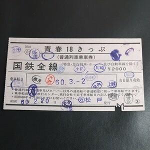 国鉄時代の使用済み青春18きっぷ