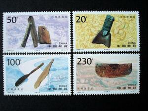 ★中国切手★1996-10河母渡遺跡 4種完 未使用美品