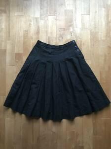 MARGARET HOWELL マーガレットハウエル リネンコットンスカート サイズ2 黒 MHL 麻綿 プリーツ