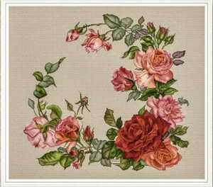 クロスステッチキット◆薔薇のリース◆花 刺繍キット 14カウント 初級 薔薇