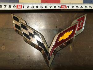 送料込 特大 corvette クローム 銀 シルバー エンブレム コルベット 周年 c1 c2 c3 c4 c5 c6 c7 chevy chevlore シボレー