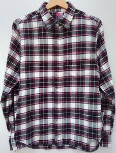 GOODENOUGH グッドイナフ メンズ コットン 長袖シャツ サイズ2 ピンク系 チェック柄 綿100% GE-103006