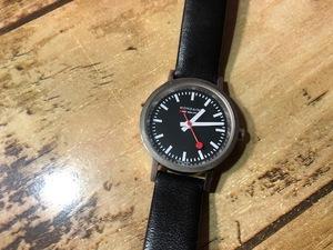 BK015 良品レベル MONDAINE モンディーン SWISS MADE ECO QUARTZ RAILWAY WATCH ブラック文字盤 純正革ベルト クオーツ レディース 腕時計