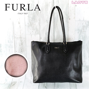 FURLA A4 収納 肩掛け ワンポイント ロゴ レザー ジップ トート バッグ 黒 ブラック 無地 本革 フォーマル ビジネス ハンドバッグ フルラ