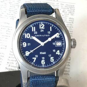 HAMILTON ハミルトン 腕時計 KHAKI カーキ 3針 デイト ネイビー 稼動品 W1586