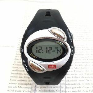 美品★ mio デジタル 多機能 メンズ 腕時計 ★ アラーム クロノ ブラック 稼動品 F3073