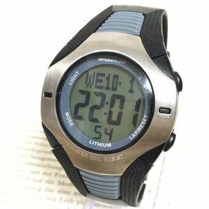 ★SPORTLINE 多機能 デジタル メンズ 腕時計★ スポーツライン アラーム クロノ タイマー シルバー 稼動品 F3186