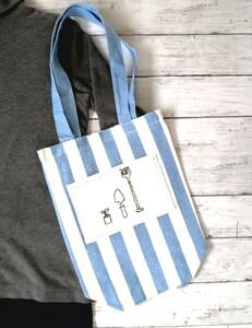 ハンドメイド ストライプ ガーデニングのポケット 手縫いの刺繍 ショルダーバッグ エコバッグ 縦長トートバッグ