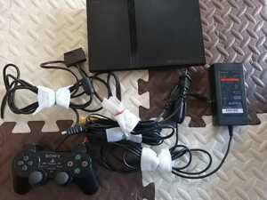 良品 SONY PS2 PlayStation2 プレステ2 本体1式 SCPH-77000 薄型 動作確認済 黒 即決