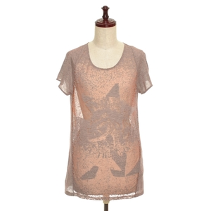 ◇375236 DIESEL ディーゼル Tシャツ 半袖カットソー シースルー レーヨン混 レディース ピンク ベージュ オレンジ