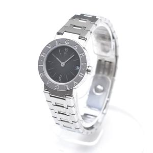 □379490 BVLGARI ブルガリ クォーツ式腕時計 BB23SS サイズ23mm ステンレス レディース シルバー 黒文字盤