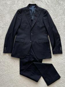 伊勢丹購入 INGRADO size46 イタリア製ウールスーツ ネイビー ストライプ ジャケット パンツ イングラード メンズ 二つボタン 春夏 背抜き