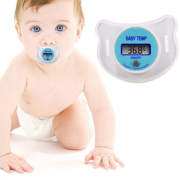 新品】 赤ちゃん おしゃぶり型 体温計 液晶デジタル (ブルー)