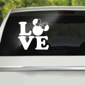 VIP◆ミニーマウス 白銀 防水ステッカー ギャルソン 車ミニバン ホワイト アルファード ベルファイア ステップワゴン レクサス トヨタ