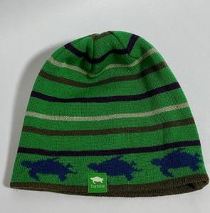 美品☆TURTOISE タータス 総柄 ボーダー リバーシブル ニットキャップ ニット帽 茶色 緑 亀 カメ