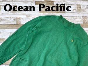 ☆送料無料☆ Ocean Pacific オーシャンパシフィック 古着 プルオーバー スウェット トレーナー メンズ M グリーン トップス 中古 即決