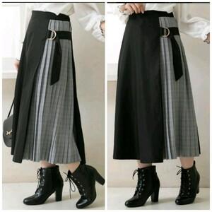 黒×チェック ロングスカート