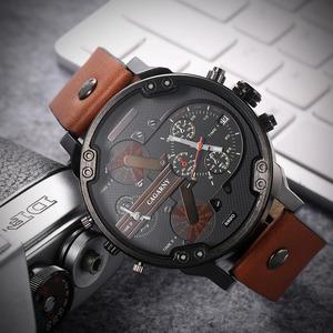 52 ミリメートルビッグケースクォーツ時計男性用上品メンズ腕時計防水デュアルタイム表示軍事レロジオ masculino 男性時計