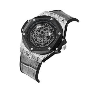 ドロップ無料 Cagarny クォーツ時計男性用クリエイティブメンズ腕時計革ラバーストラップスポーツウォッチ腕時計レロジオ Masculino