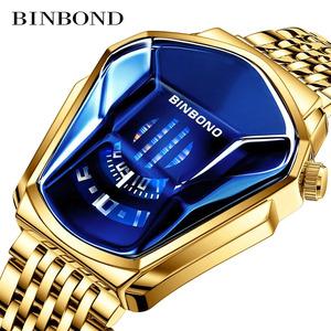 ファッションクール機関車メンズ腕時計トップブランドの高級クォーツゴールド腕時計男性防水幾何学的形状レロジオmasculino