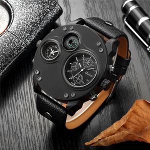 Oulm ユニークなスポーツは、男性の高級ブランド 2 タイムゾーン腕時計装飾コンパス男性クォーツ時計レロジオ masculino
