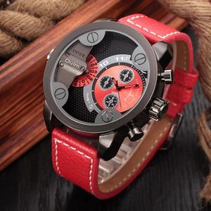 Oulm カジュアル軍事腕時計男性のファッションの革クォーツ時計男性ブランドの高級腕時計ビッグデザイン男性時計 montre オム